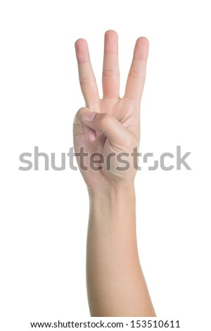 hand sign posture number three in isolated - stock photo