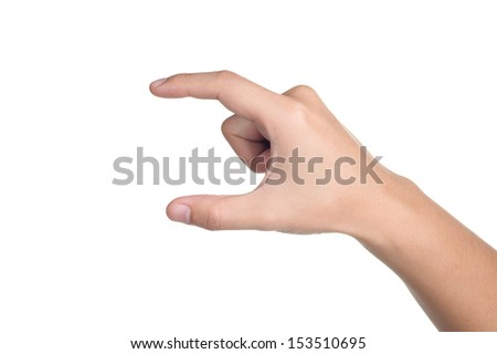 hand sign posture pick hold in isolated - stock photo