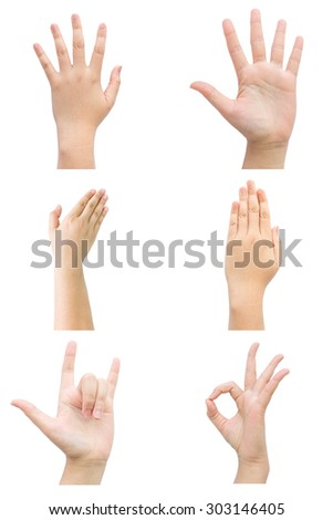 Hand sign with business concept set on isolated background. - stock photo