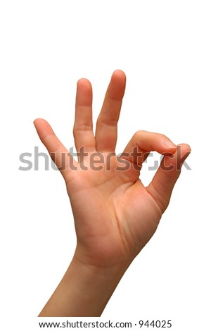Hand signal for OK, isolated with a white background