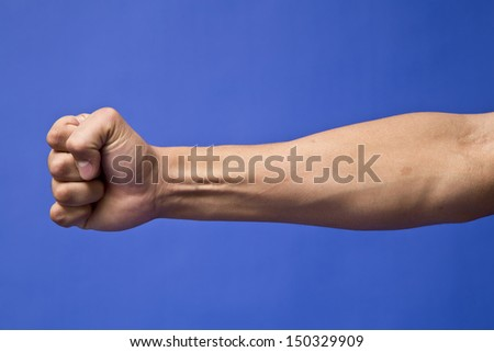 Hand signal in a blue background - stock photo
