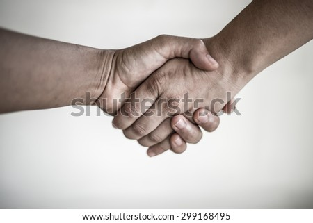 Hand signal in black & white - stock photo