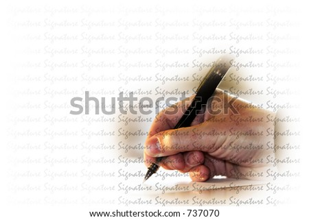 "Hand signing a document with the word ""signature"" superimposed over the image - represents contracts, loans, business, finance, legal issues, etc. - stock photo"