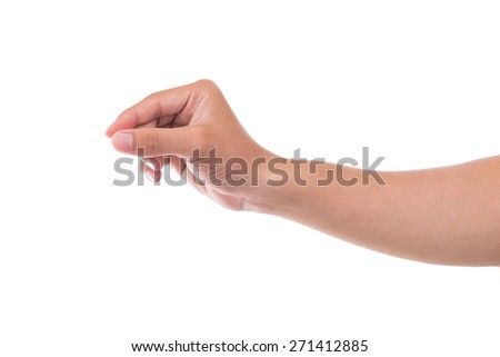 hand signs isolated on white - stock photo