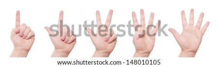 hand signs: one, two, three, four, five