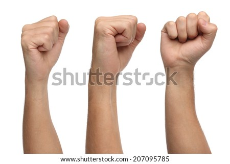 Hand signs. Punch fist isolated on white background - stock photo