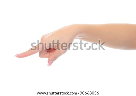 Hand simulating pressing a button. Isolated on white background - stock photo