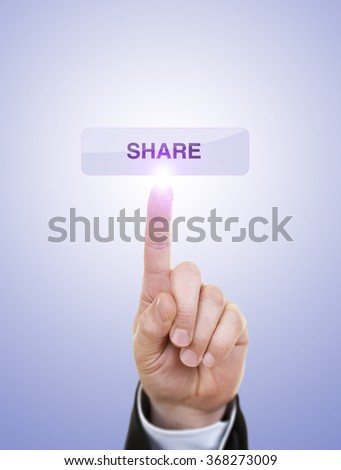 Hand simulating pressing share button with index finger, on a blue background.