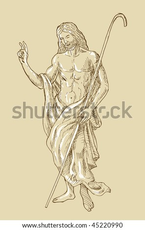 hand sketched drawing illustration of the Risen Resurrected Jesus Christ standing - stock photo