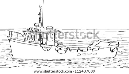 Hand sketched drawing fishing boat vector stock vector for How to draw a fishing boat