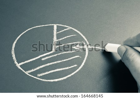 Hand sketching a diagram of market sharing with chalk - stock photo