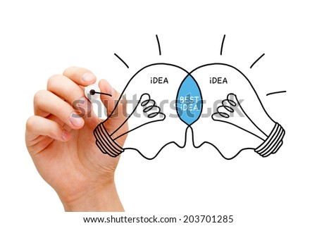 Hand sketching Best Idea light bulbs concept with black marker. Teamwork makes the best ideas. - stock photo