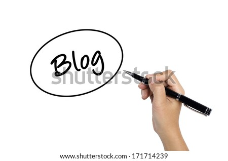 Hand sketching Blog Speech Bubble Concept with black pen - stock photo