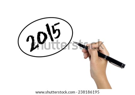Hand sketching 2015 Bubble Concept with black pen - stock photo