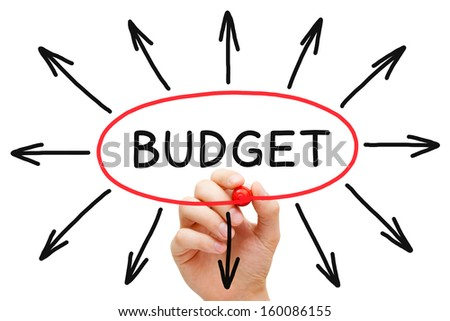 Hand sketching Budget concept with red marker on transparent wipe board.  - stock photo