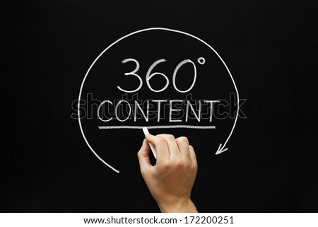 Hand sketching 360 degrees Content concept with white chalk on a blackboard.  - stock photo
