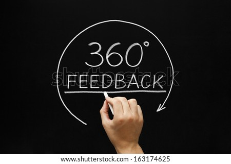Hand sketching 360 degrees Feedback concept with white chalk on a blackboard. - stock photo