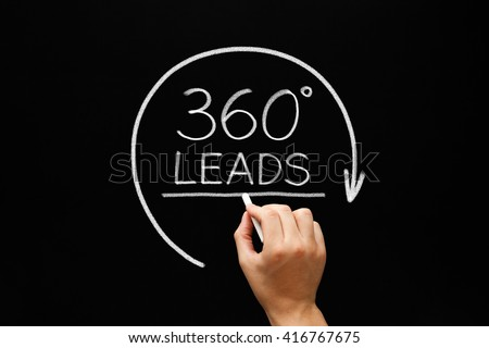 Hand sketching 360 degrees Leads with white chalk on blackboard. Lead Generation Business Concept.