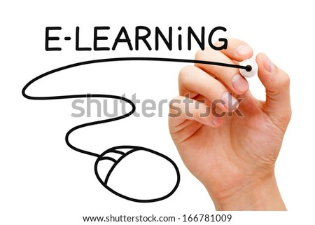 Hand sketching E-learning Mouse Concept with black marker on transparent wipe board. - stock photo