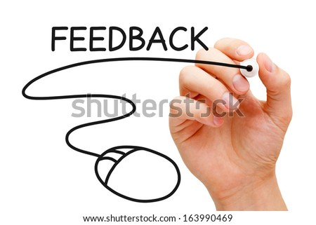 Hand sketching Feedback Mouse Concept with black marker on transparent wipe board. - stock photo