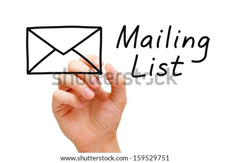 Hand sketching Mailing List Concept with marker on transparent wipe board. - stock photo