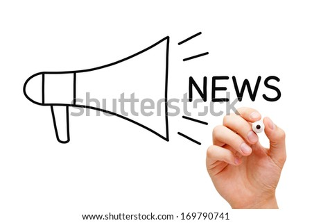 Hand sketching Megaphone News Concept with marker on transparent wipe board. - stock photo