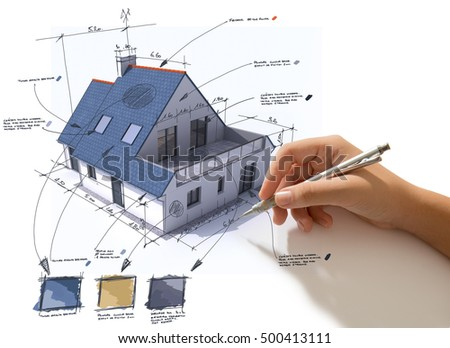Hand sketching on a house rendering indicating materials and colors 3D rendering