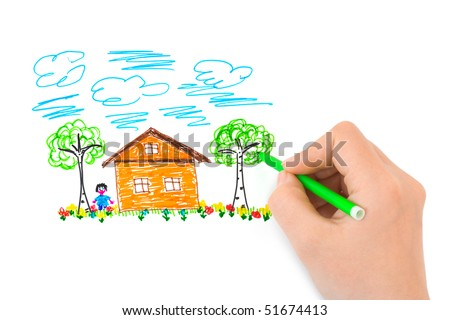 Hand sketching picture - abstract art background - stock photo