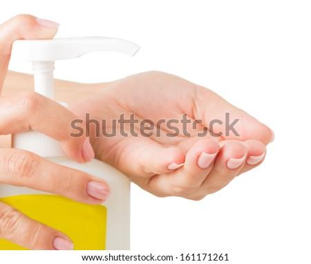 hand soap isolated on white background - stock photo