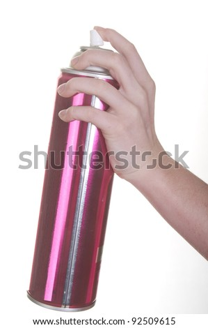 hand spraying aerosol can - stock photo
