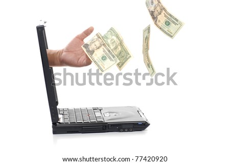 hand sticks out of laptop - stock photo