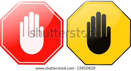 hand stop sign - stock photo