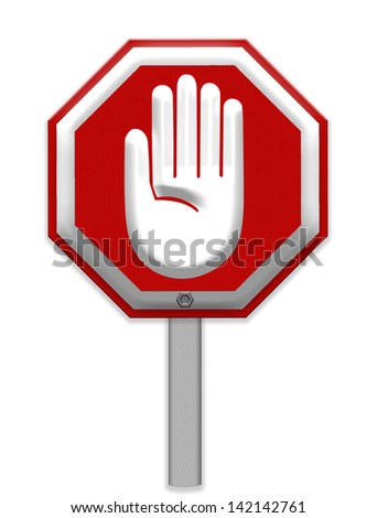 Hand Stop Sign, mesh isolate on white background, Part of a series.