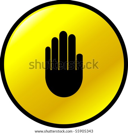 hand stop signal button - stock photo
