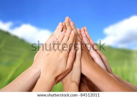 Hand success teamwork nature - stock photo