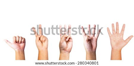 Hand symbol Hammer , Scissors , Paper, one, two three, four, five