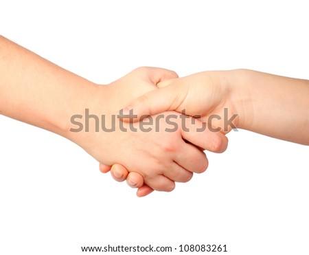 hand symbol, human handshake, friendship concept isolated on white - stock photo