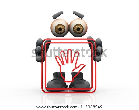 hand symbol on a white background - stock photo