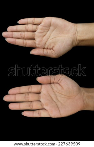 Hand symbol on black background