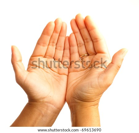 hand symbol on white - stock photo