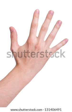 hand symbol that means five, isolated on white background - stock photo