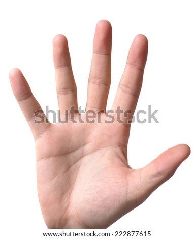 hand symbol that means five on white background