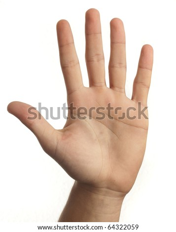 hand symbol that means five on white background - stock photo