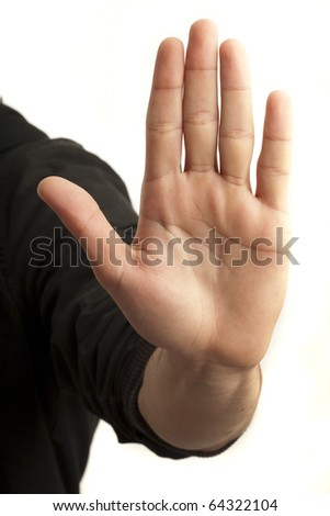 hand symbol that means stop on white background - stock photo