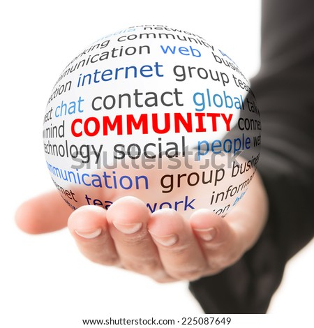 Hand take transparet ball with wordcloud and red inscription Community - stock photo