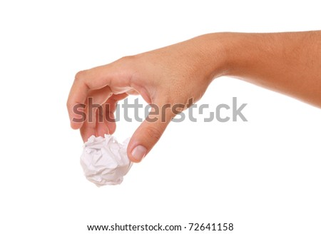 hand taking a crumpled paper ball over white background