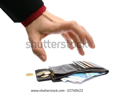 hand taking away money from a wallet - stock photo