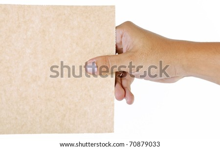 Hand taking blank cardboard over white background - stock photo