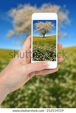 Hand taking photo of spring landscape by smartphone - stock photo