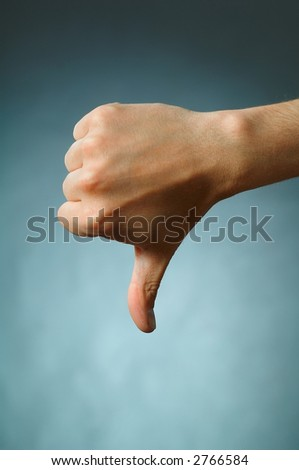 Hand Talk Series - thumb down - stock photo